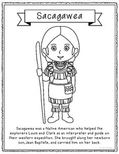 sacagawea coloring page craft or poster with mini biography native american