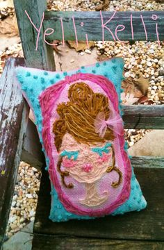 Freehand Embroidered Burlap Pillow Shabby Cameo Girl. $50.00, via Etsy.