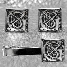 Silver Leaf Initial Celtic Men's Cuff links and by Cuftlynx, $60.00