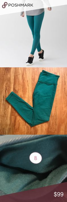 Lululemon Forage Teal White Wunder Under Legging In excellent pre owned condition, zero flaws lululemon athletica Pants