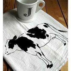 Organic cow teal towel