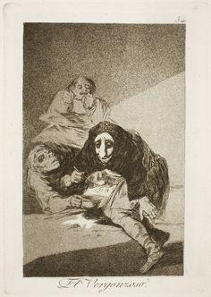 """Francisco de Goya: """"El Vergonzoso"""". Serie """"Los caprichos"""" [54]. Etching and aquatint on paper, 214 x 150 mm, 1797-99. Museo Nacional del Prado, Madrid, Spain"""