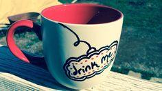 Drink Me Alice in Wonderland Inspire tea mug-made to by sunnydayz5