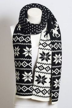 This gorgeous Fair Isle Snowflake Knit Scarf is the perfect accessory for the holidays. It features a heavyweight black & white knit fabric that will go perfectly with any outfit. This scarf measures Double Knitting Patterns, Norwegian Knitting, Fair Isle Pattern, Weather Wear, Fair Isle Knitting, Cotton Scarf, Scarf Styles, Boutique Clothing, Winter Fashion