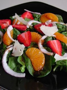 Spinach salad with strawberries, mandarin oranges and feta  Submitted by: DSTATZ at SparkRecipes