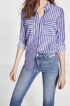 58f7910aa03 Striped Convertible Sleeve City Shirt By Express  59.90 Shirt Sleeves