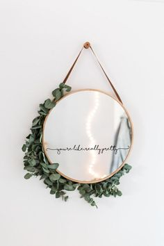 You& like, really pretty mirror decal - So that you agree, think that you are really pretty! This sticker is perfect for a vanity mirror, m - Diy Wall Decor, Diy Home Decor, Bedroom Decor, Diy Mirror Decor, Stair Wall Decor, White Wall Decor, Master Bedroom, Diy Bathroom, Mirror Bathroom