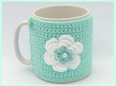 Mint green and white crochet mug cozy by MyfanwysMakes on Etsy, £7.25