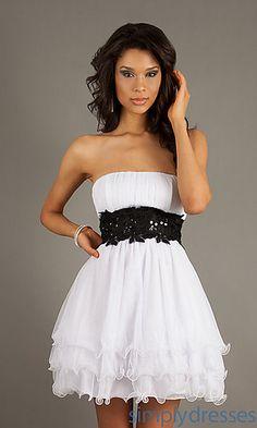 Short Empire Waist Strapless Dress at SimplyDresses.com