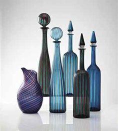 Gio Ponti (1891-1979) and Venini.  Morandiane; 2 bottles by Gio Ponti, 3 bottles and a jug by Venini.  Bottles, 1946-1950, and jug, 1960s.