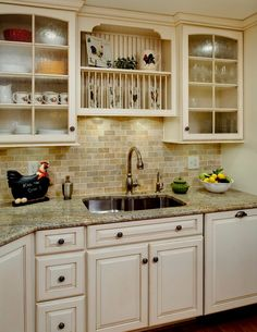 Country Kitchen with Undermount Sink, Slate Tile, Raised panel, Best Tile Philadelphia Beige 3x6 Brushed 198082, L-shaped