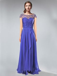 Bateau Neck Lace Cap Sleeves Concord Chiffon And Lace Bridesmaid Dress