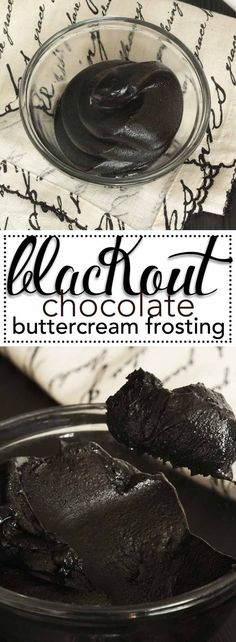 Blackout Chocolate Buttercream Frosting. The deepest, darkest, chocolate buttercream frosting ever! via /karascakes/ #blackout #frosting #buttercream