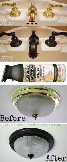 How to paint outdated brass faucets, hardware and fixtures! -- A list of some of.How to paint outdated brass faucets, hardware and fixtures! -- A list of some of the best home remodeling ideas on a budget. Easy DIY, cheap and quick. Home Improvement Projects, Home Projects, Backyard Projects, Fixer Upper, Diy Home Decor For Apartments, Diy Home Decor Rustic, Diy Home Decor On A Budget Living Room, Modern Decor, Farmhouse Decor