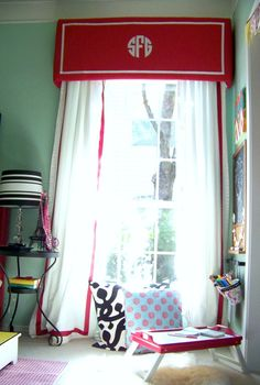 easy sewing project, sew cheap plain white curtains, then embellish with strips of extra fabric for trim?