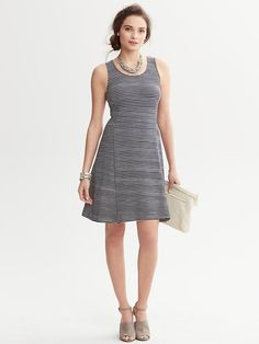 Banana Republic Striped Fit Flare Dress