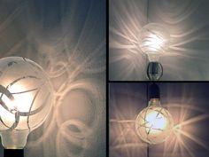 "These are marvelous!  A softer, chicer version of the ""Industrial"" look that is so popular in lighting -- ShadowBulb by Melissa Borrell, via Behance"