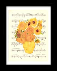 Vincent Van Gogh, Sunflowers, Sheet Music Illustration, Wall Hanging, Giclee Print, Impressionism, Book Art, Dorm Room, Wall Decor, Gift