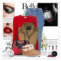 """Red Sweater"" by klassygirl ❤ liked on Polyvore featuring moda, Chanel, INIKA, Topshop, Yves Saint Laurent, Maise, UGG Australia, Conair y New Growth Designs"