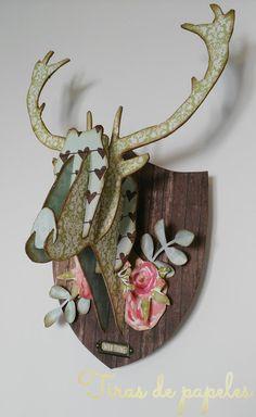 Deer head -chipboard- Deer, Chipboard, Blog, Up, Christmas, Winter, Stag Head, Ornaments, Objects