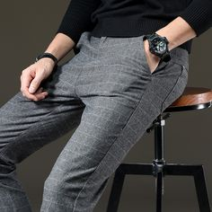Men Casual Pants Military Trousers Thicken Wool Blend Loose Occident Solid Chic