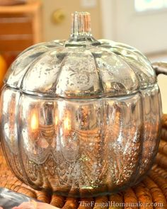 DIY Mercury Glass Pumpkin (how to turn any glass into mercury glass) - 31 Days of Fall Inspiration - The Frugal Homemaker