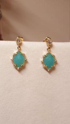 Aqua Chalcedony earrings with gold plated CZ studded bezel and posts. by MDEBRJewelryDesigns on Etsy