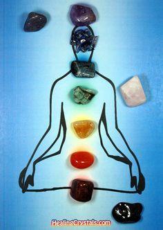 If you are working on creating your own chakra set, try these crystals: Crown Chakra - Amethyst Third Eye Chakra - Iolite Throat Chakra - Blue Kyanite Hear Chakra - Emerald Solar Plexus - Citrine Sacral Chaka - Carnelian Base Chakra - Ruby  Optional chakras and stones: Earth Chakra - Black Tourmaline Heart Chakra - Morganite Star Chakra - Lepidolite http://www.healingcrystals.com/tumbled-stones-and-gemstones-by-stone.html