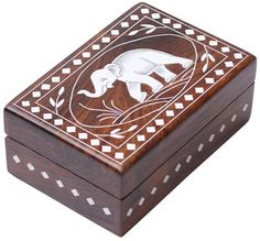 "Bulk Wholesale 6"" Handmade Rectangular Shaped Wooden Jewelry Box / Keepsake box with a Hinged Top Cover – Designed with Inlaid Elephant Motif – Decorative Trinket Boxes in Inlay Art"