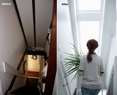 Two #roofwindows and a bucket of white paint! The result: An amazing staircase transformation... Get the app and see how roof windows can help you create a brighter and healthier home: http://www.velux.com/products/be_inspired/velux_apps