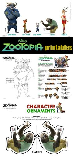 Disney Zootopia Printables and learn how to draw Judy and Flash.