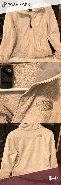 North face fuzzy jacket in off white Normal wear, not as soft as it was when it was new. Jacket is full zip in an off white color. North Face Jackets & Coats