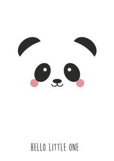 Poster | Bilder fürs Baby oder Kinderzimmer | Panda | Hello Little ohne | Weiß