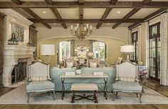 Pinterest Party Friday!!!! - Restoration Redoux In love with the beams, the baby blue and that mantle!
