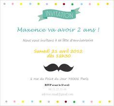 Invitation pour anniversaire Ruban and Moustache