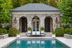 pool house ideas for traditional home | Pool: Unique Stone Wall Traditional Pool House Designs With Stone Wall ...