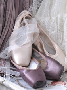 Lavender and pink pointe shoes