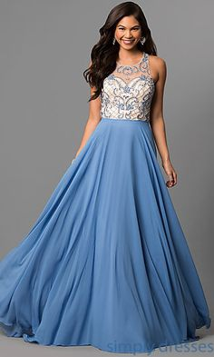 Long Formal Gown with Illusion Sweetheart Bodice. Shop Prom ... 6f35529c8178