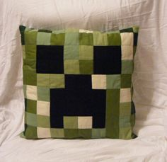 Reserved for Nick - Two faced Oh my Creeper! Quilted 18 inch Pillow Cover