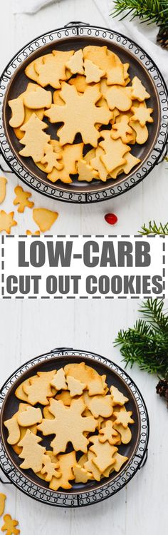 """Low-Carb Cut Out Cookies - very easy to make, festive holiday """"sugar"""" cookies, without the guilt. Gluten and sugar-free. Low Carb Vegetarian Recipes, Healthy Cookie Recipes, Healthy Cookies, Baking Recipes, Dessert Recipes, Healthy Treats, Dessert Ideas, Delicious Desserts, Keto Recipes"""