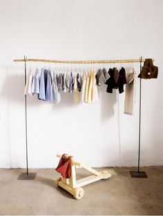 Furniture:Unique Storage Idea For Nursery And Kids Room Creative Storage Ideas for Small Spaces Diy Clothes Rack Wood, Kids Clothes Storage, Diy Clothes Hangers, Hanging Clothes, Clothes Rail, Baby Hangers, Hanger Stand, Hanger Rack, Coat Hanger