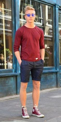 Best Street Style Outfit For Men 35 Style Casual, Casual Outfits, Summer Outfits, Men Casual, Men's Style, Converse Outfits, Converse Shoes, Sneaker Outfits, Mens Converse Shorts