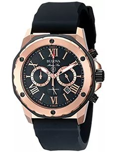 Mens Bulova Marine Star Watch in Rose Gold Tone Stainless Steel with Black Rubber Strap Fine Watches, Sport Watches, Cool Watches, Watches For Men, Men's Watches, Hublot Watches, Analog Watches, Pocket Watches, Men's Accessories