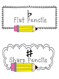 Flat and Sharp Pencil Signs {Freebie}