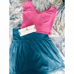 ✨Bundle✨ Special Crop top & skirt set Pink Size M Crop top. Blue Mini Skirt Size M. With a cute pink choker! Wet Seal Other