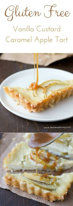 Get ready to drool over this easy to make gluten free vanilla custard filled caramel apple tart. Almond flour crust and a creamy filling make this dessert tart recipe hard to resist. via /fearlessdining/
