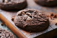 Cocoa and semi-sweet chocolate chunks combine to make these moist brownie-like cookies. Try this Double Chocolate Chunk Cookies recipe at your next get together. Chocolate Chunk Cookie Recipe, Chocolate Cookies, Chocolate Desserts, Baking Recipes, Cookie Recipes, Dessert Recipes, Bar Recipes, Baking Ideas, Kraft Recipes