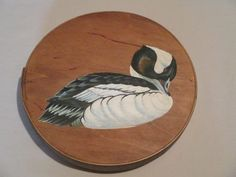 Box Vintage Round Painted Lid Duck Cheese Box Style by HobbitHouse