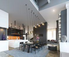 meuble salle à manger moderne, luminaires originaux, table rectangulaire en bois noir et tapis gris