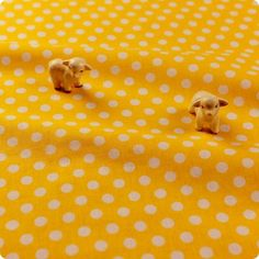 Polka dots - yellow & white 8mm spots cotton fabric